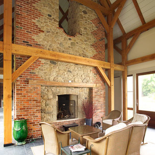Inspiration for a timeless porch remodel in Toronto with a fire pit and a roof extension