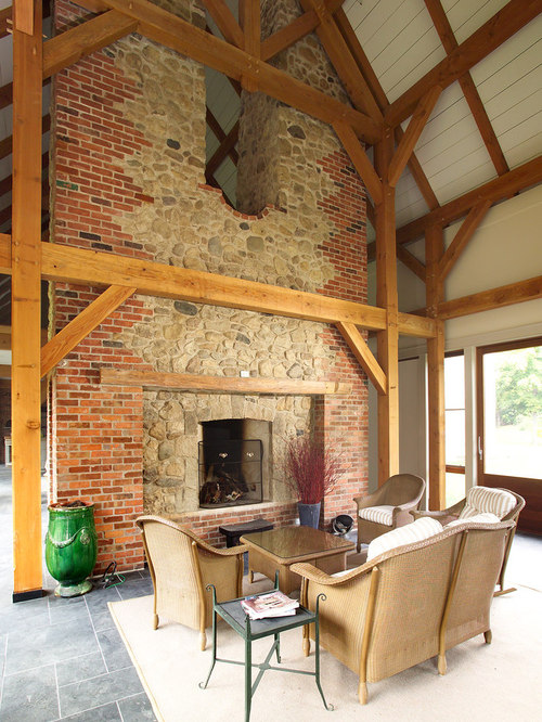 Red brick fireplace houzz for Arnal decoration