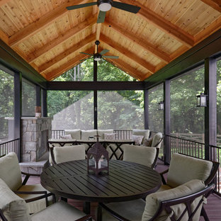 This is an example of a mid-sized rustic back porch design in DC Metro with a fire pit and decking.