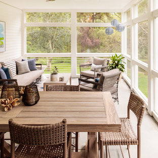 Country screened-in porch photo in Boston with a roof extension
