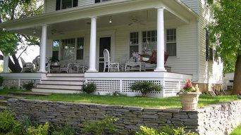 Front porch & dry-stacked retaining wall