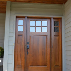 This beautiful Douglas Fir front entry door with side lights has a raised panel of tongue and groove and a rich custom stain that highlights the depth in ... & Buffelen Doors | Houzz