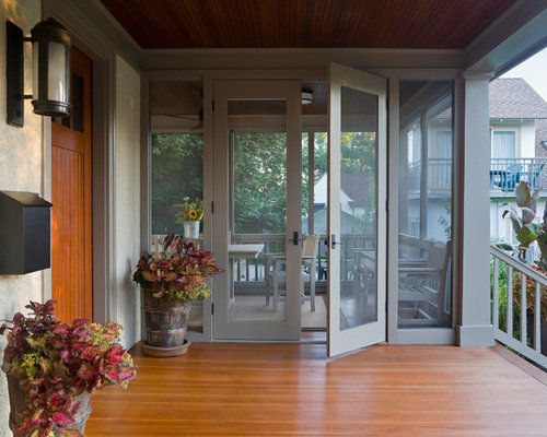 This is an ex&le of a traditional screened-in porch design in Minneapolis with decking & Porch Door | Houzz Pezcame.Com