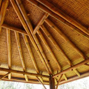 Ispirazione per un portico tropicale davanti casa con pedane e un tetto a sbalzo