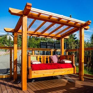 Idee per un portico stile americano di medie dimensioni e davanti casa con un giardino in vaso, pedane e una pergola