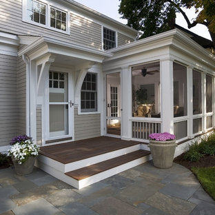 Inspiration for a timeless porch remodel in Minneapolis with decking