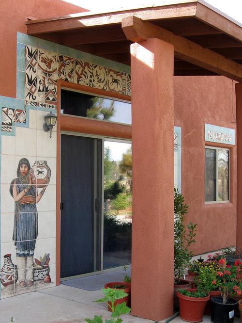 "Santa Fe Style Living Room: ""Hopi Maidens"" Southwestern-Pueblo-Santa Fe Style Exterior"