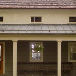 Diseño de terraza campestre, en anexo de casas, con entablado