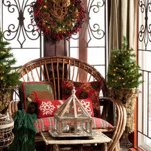 Неиссякаемый источник вдохновения для домашнего уюта: веранда в стиле рустика с покрытием из каменной брусчатки и навесом