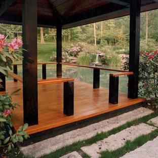 Intimate waterfront deck inspired by Japanese pagoda design