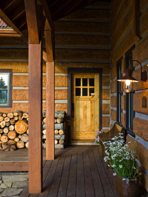 Log cabin style front door home design ideas pictures for Rustic log cabin siding