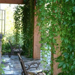 Idee per un portico country di medie dimensioni e dietro casa con pavimentazioni in pietra naturale e un parasole