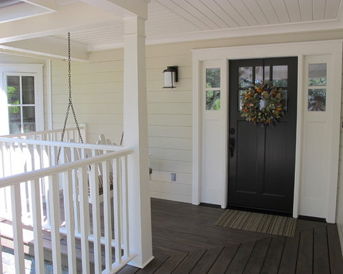 black entry door. This is an example of a farmhouse porch design in San Francisco with  decking Black Entry Door Houzz