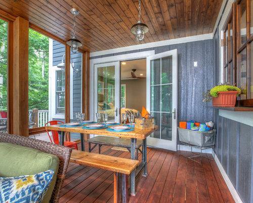 Porches cerrados ejemplo de porche cerrado de estilo americano de tamao medio en patio trasero - Porches cerrados de aluminio ...