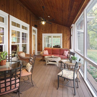 Arts and crafts screened-in porch idea in Milwaukee with decking and a roof extension