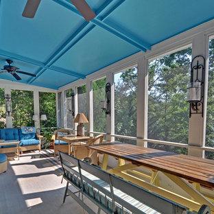 Coastal porch idea in Atlanta with a roof extension