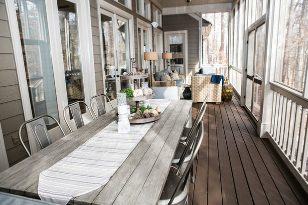 Transitional Porch by Kat Nelson Designs