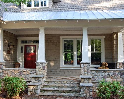 Rock siding houzz for Traditional porch