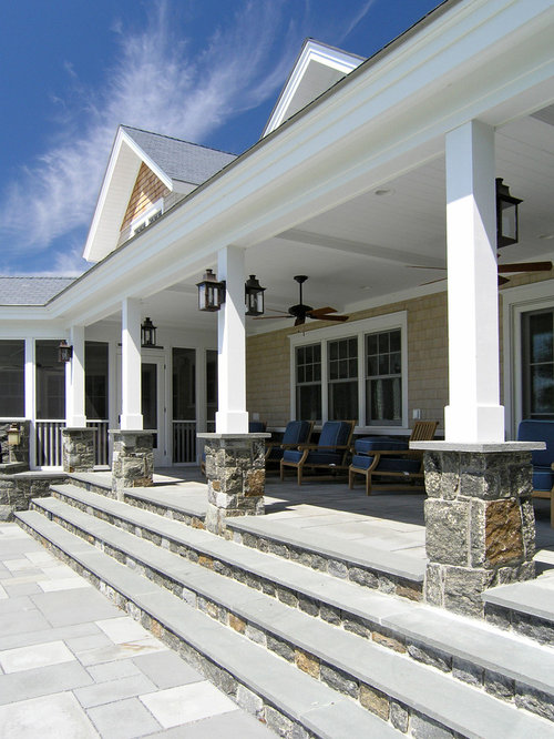 Stone column base houzz for 10 foot porch columns