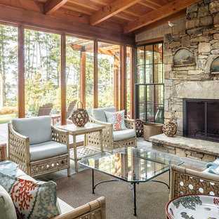 Inspiration for a craftsman screened-in porch remodel in Portland Maine