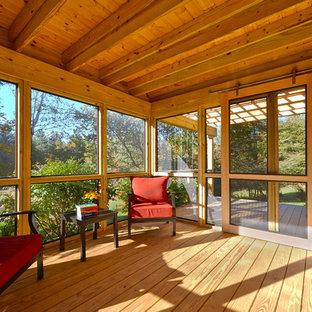 Foto di un patio o portico minimalista di medie dimensioni e nel cortile laterale con un portico chiuso
