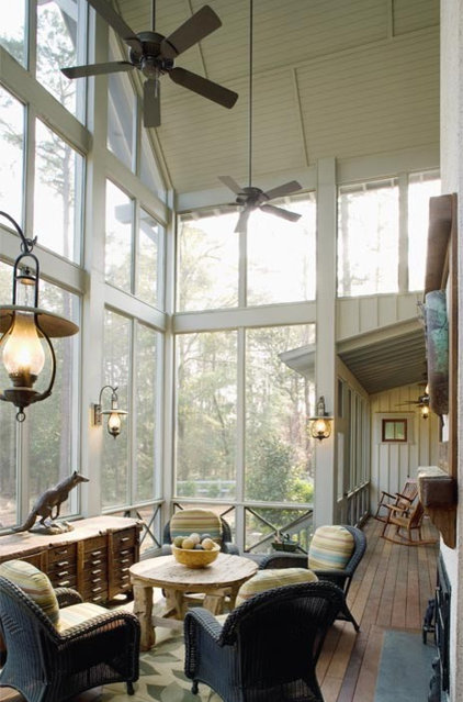Rustic Porch by Wayne Windham Architect, P.A.