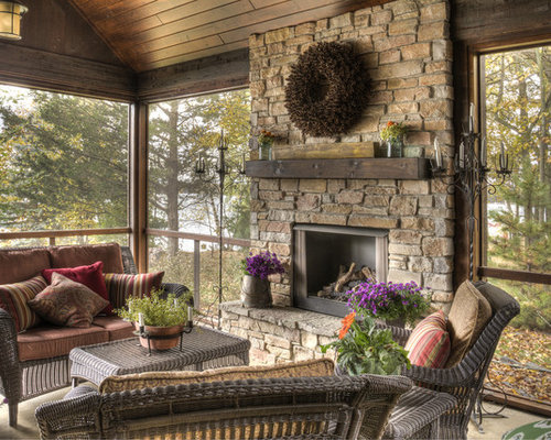 Inspiration For A Large Rustic Screened In Back Porch Remodel In  Minneapolis With A Roof