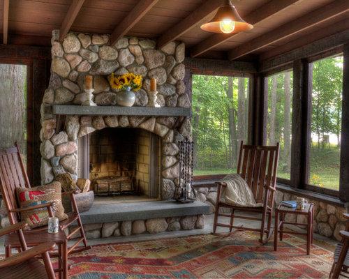 Screened Porch Fireplace Houzz