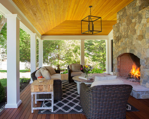Farmers porch houzz for Back porch fireplace