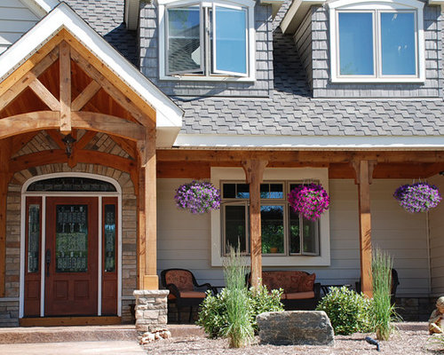 Timber frame front porch home design ideas renovations for Timber frame porch designs