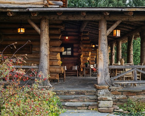 This Is An Example Of A Rustic Front Porch Design In Other With A Roof  Extension