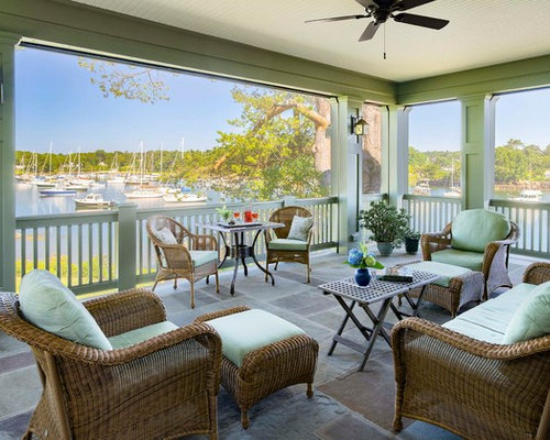 inspiration for a mid sized beach style screened in back porch remodel in manchester - Backporch Ideas