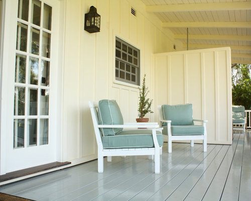 This is an example of a farmhouse porch design in Santa Barbara with decking  and a - Painted Porch Floor Houzz
