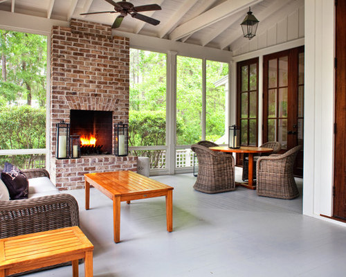 Screened porch fireplace houzz for Screened in porch with fireplace