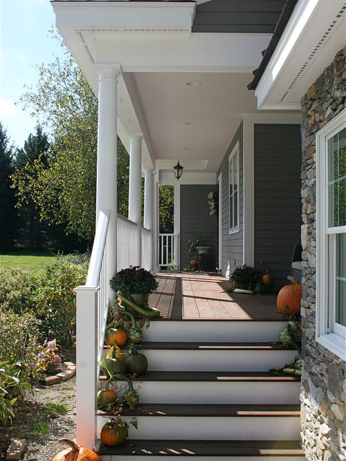 Front Porch With Side Steps Houzz