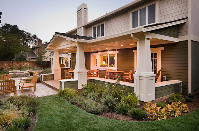 Traditional Porch by Sally Stoik Landscape Architect