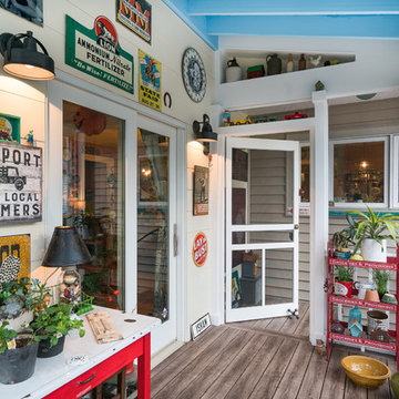 Midwest Screened Porch Addition with Eclectic Vintage Cottage Style