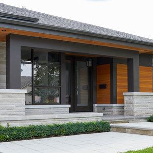 Idee per un patio o portico moderno di medie dimensioni e davanti casa con un giardino in vaso, pavimentazioni in pietra naturale e un tetto a sbalzo