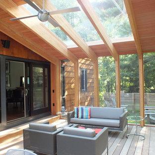 Идея дизайна: веранда среднего размера на заднем дворе в стиле модернизм с крыльцом с защитной сеткой, настилом и навесом