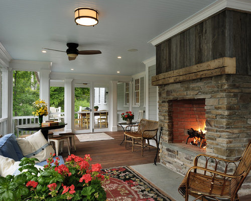 four season porch with fireplace houzz. Black Bedroom Furniture Sets. Home Design Ideas