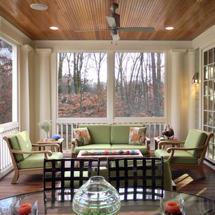 This is an example of a traditional screened-in porch design in DC Metro with decking and a roof extension.