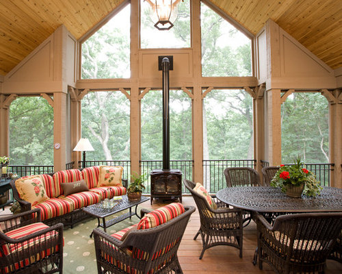 Sunroom With Wood Burning Stove Houzz