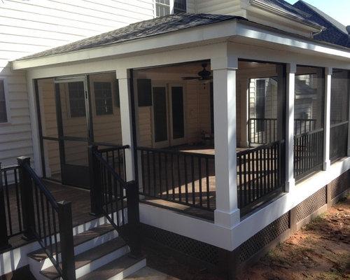 Craftsman screened in porch design ideas remodels photos for Craftsman style screened porch