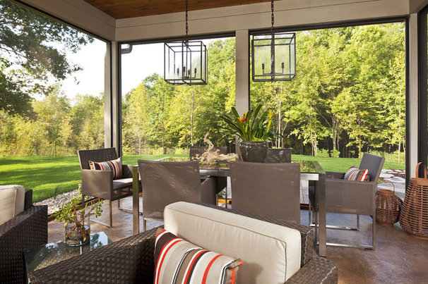 Transitional Porch by Martha O'Hara Interiors