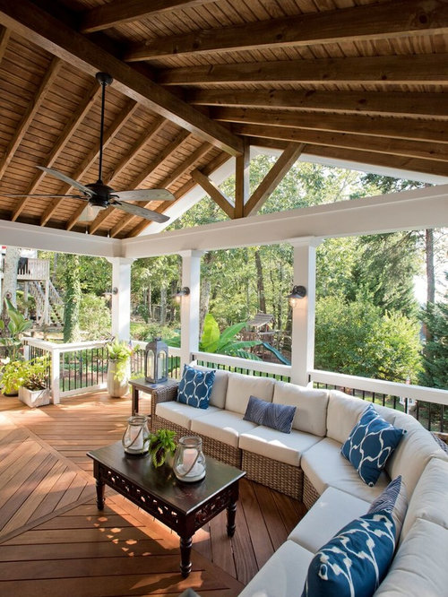 Mid Sized Coastal Screened In Back Porch Photo In Atlanta With Decking And A