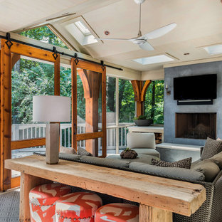 Transitional screened-in porch idea in Atlanta