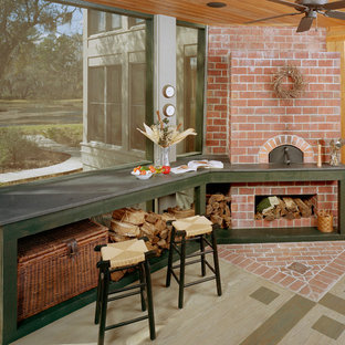 Inspiration for a small timeless outdoor kitchen porch remodel in Atlanta with a roof extension