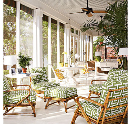Tropical Porch by Lagnappe Custom Interiors