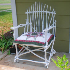 Eclectic Porch Painted stick chair