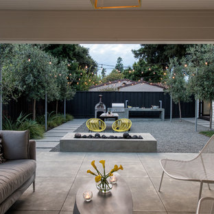 Trendy concrete back porch idea in San Francisco with a roof extension